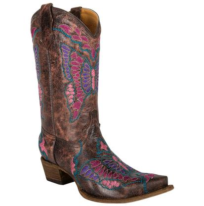 Corral Girl's Tan Black Cognac Multicolor Butterfly Boots