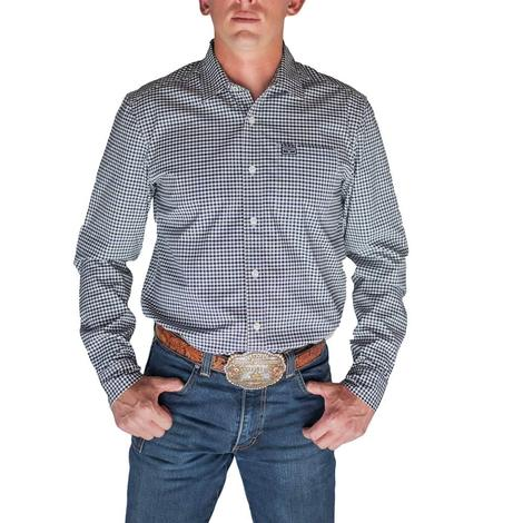 Kimes Ranch Navy Mini Check Long Sleeve Buttondown Men's Shirt