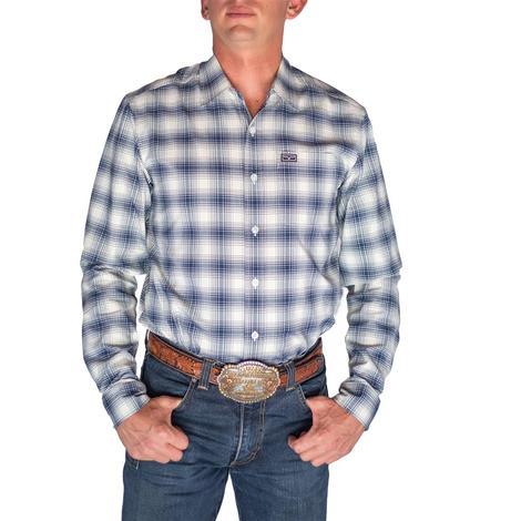 Kimes Ranch CoolMax Navy Plaid Long Sleeve Buttondown Men's Shirt