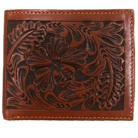 Floral Tooled Tan Bifold Wallet