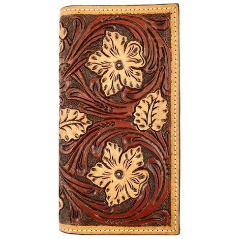 Rodeo Floral Tooled Brown and Blonde Wallet
