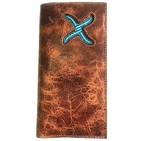 Twisted X Turquoise Inlay Distressed Tan Wallet