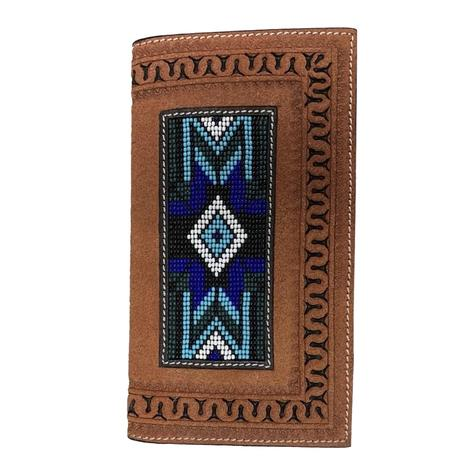 Twisted X Rodeo Leather with Blue Bead Inlay Wallet