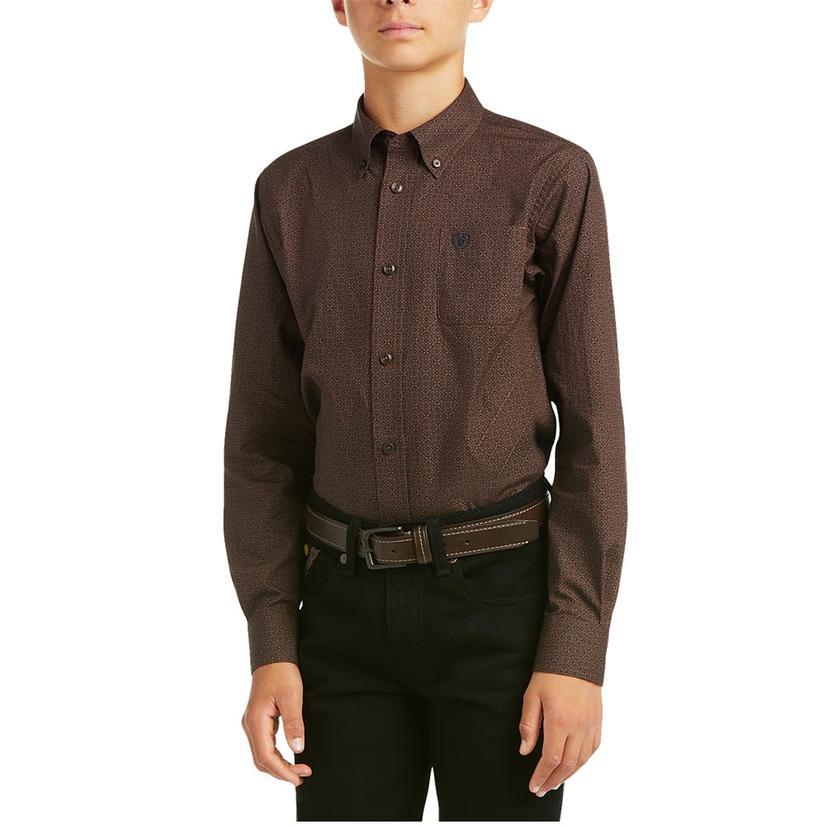 Ariat Merce Brown Print Boy's Long Sleeve