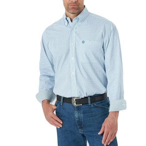 Wrangler Blue Print Long Sleeve Men's Shirt