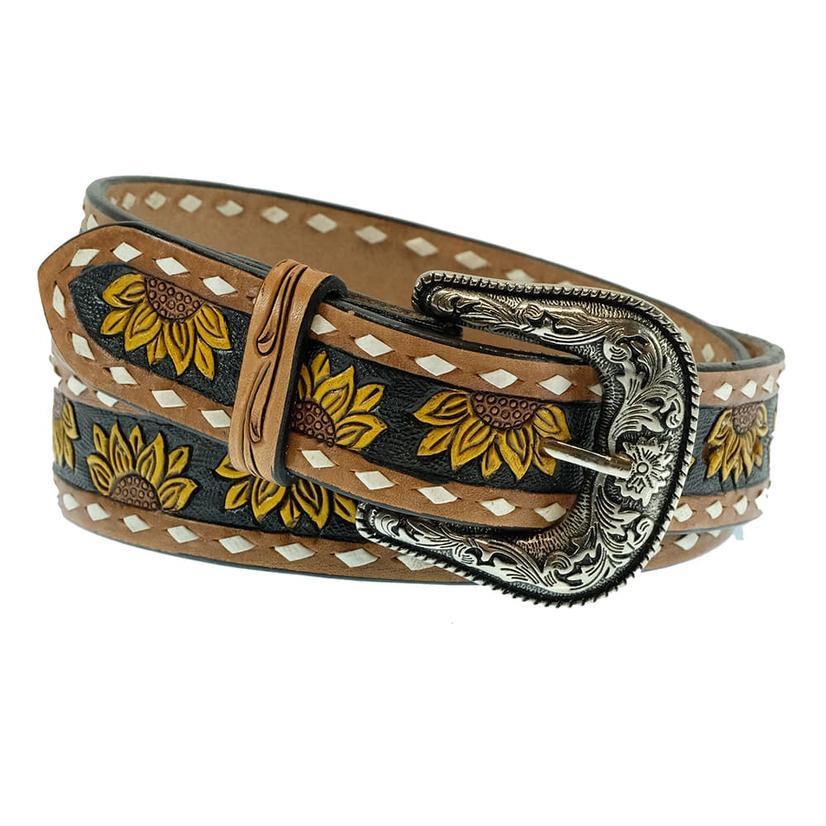 American Darling Tooled Sunflower Women's Belt