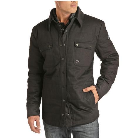 Powder River Solid Black Twill Puffer Shirt Men's Jacket