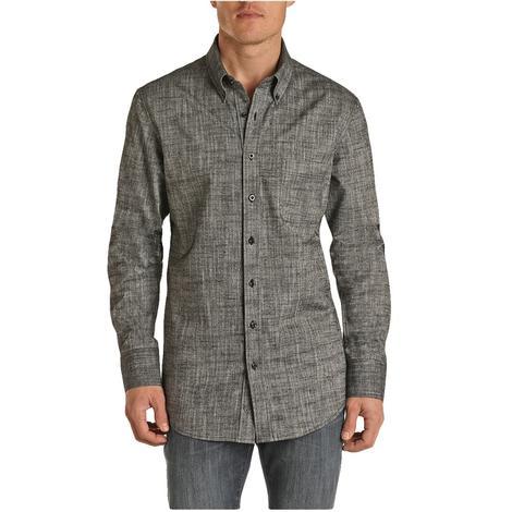 Rock and Roll Cowboy Black Chambray Long Sleeve Buttondown Men's Shirt