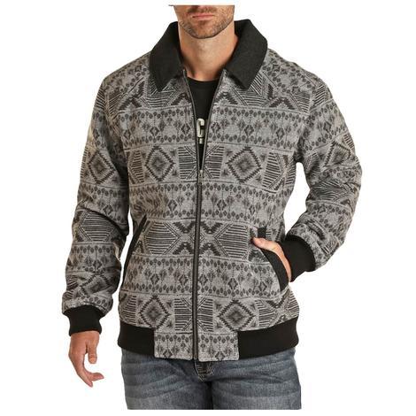 Powder River Charcoal Aztec Wool Men's Bomber Coat