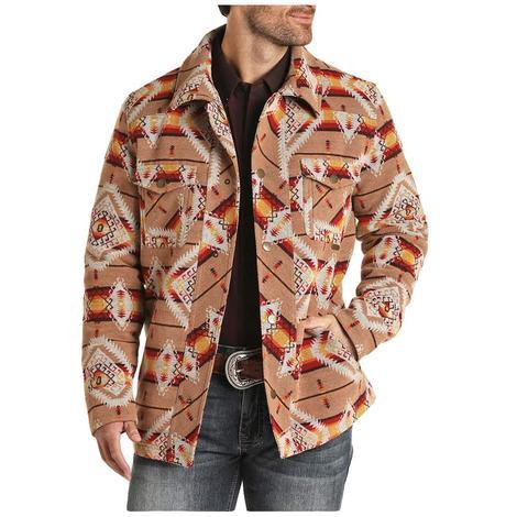 Powder River Tan Aztec Jacquard Men's Wool Coat