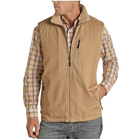 Powder River Solid Tan Brushed Cotton Canvas Men's Vest