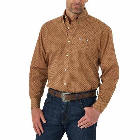 Wrangler 20X Performance Brown Print Long Sleeve Men's Shirt