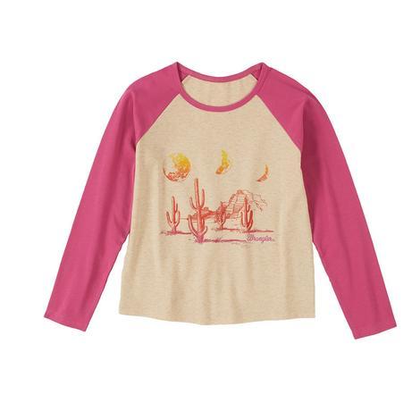 Wrangler Pink Oatmeal Girl's Graphic Long Sleeve Tee