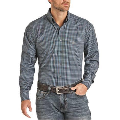 Panhandle Slim Grey Blue Plaid Men's Long Sleeve