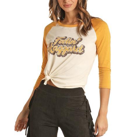 Rock & Roll Cowgirl Feelin' Haggard Women's Graphic Baseball Tee