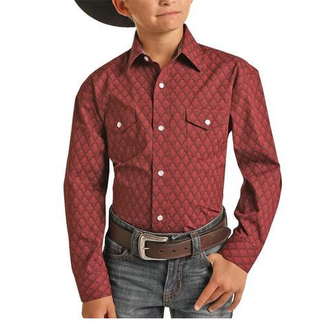 Panhandle Slim Maroon Print Boy's Long Sleeve