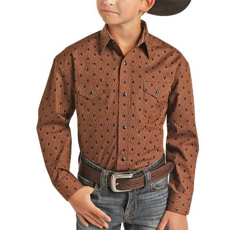 Panhandle Slim Copper Black Print Boy's Long Sleeve