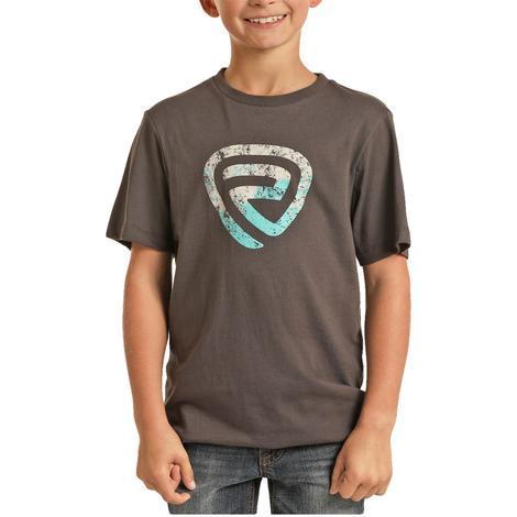 Rock & Roll Cowboy Boy's Charcoal Logo Graphic T-Shirt