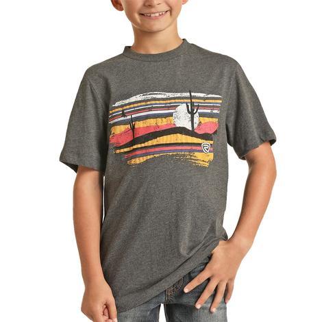Rock & Roll Cowboy Boy's Charcoal Desert Graphic T-Shirt