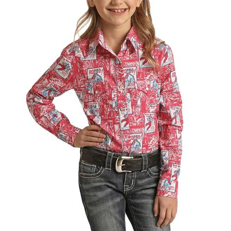 Panhandle Slim Girl's Hot Pink Rodeo Poster Long Sleeve