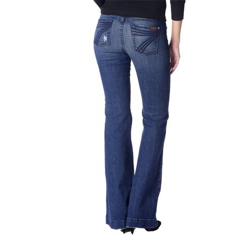 7 for All Mankind Womens Original Lake Blue Dojo Trouser Jeans - Blue Stitch
