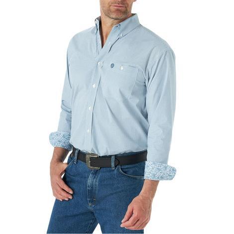 Wrangler Blue White Checkered Long Sleeve Men's Shirt