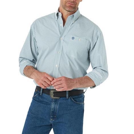 Wrangler Blue Checkered Long Sleeve Men's Shirt