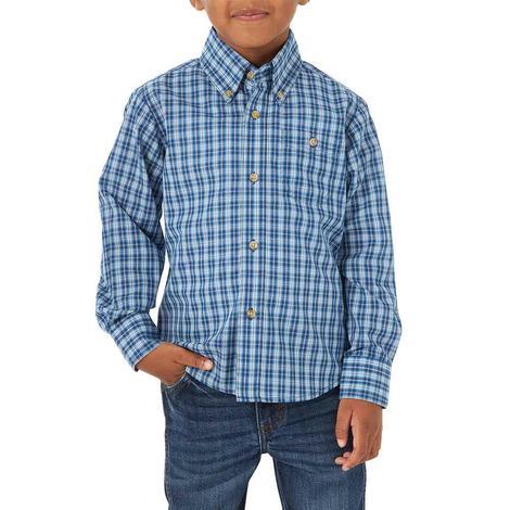 Wrangler Riata Plaid Long Sleeve Boy's Shirt