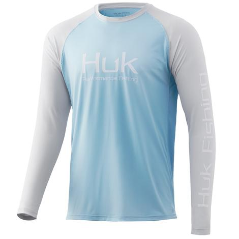 HUK Double Header Ice Blue Long Sleeve Men's Shirt