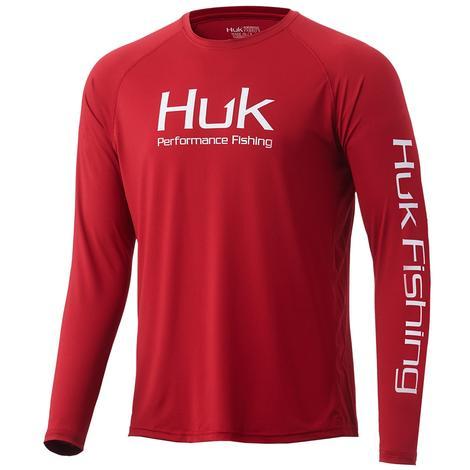 HUK Vented Pursuit Blood Red Men's Long Sleeve Shirt