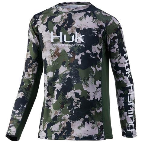 HUK Icon X Refraction Hunt Club Camo Boy's Long Sleeve