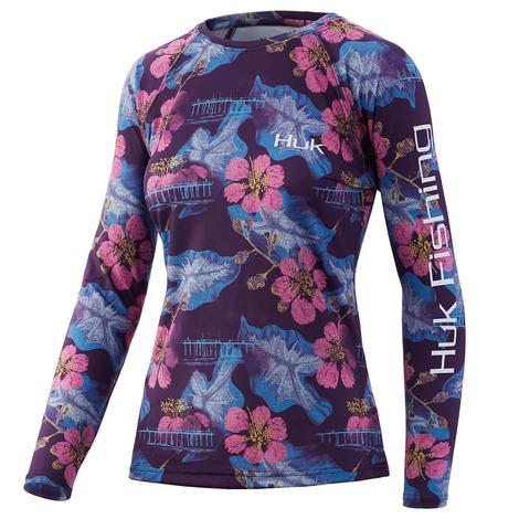 HUK Blackberry Printed Floral Pursuit Long Sleeve Women's Shirt
