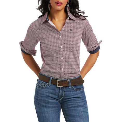 Ariat Kirby Stretch Red/Navy Print Long Sleeve Women's Shirt