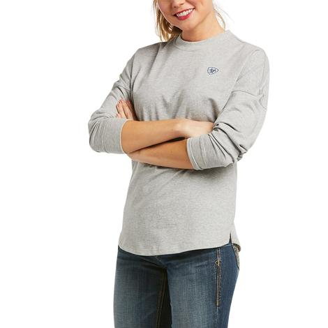 Ariat R.E.A.L. Oversized Heather Grey Long Sleeve Women's Tee