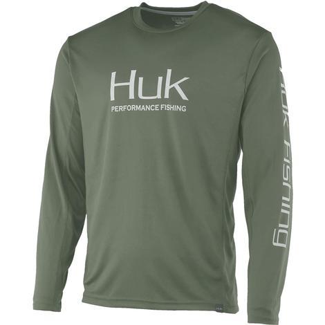 HUK Icon X Kalamata Olive Men's Long Sleeve