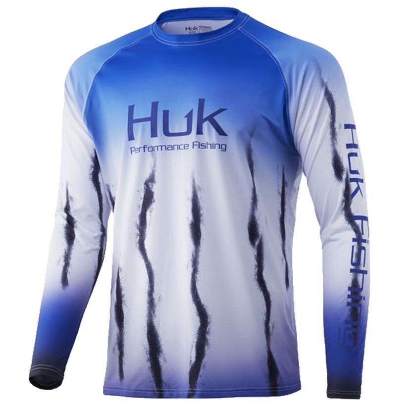 Huk Flare Fade Deep Cobalt Boy's Long Sleeve