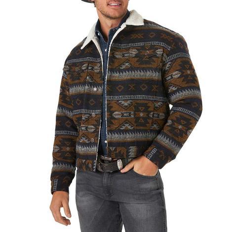 Wrangler Black Brown Aztec Jacquared sherpa Lined Men's Jacket