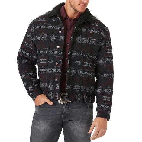 Wrangler Black Aztec Jacquard Sherpa Lined Men's Jacket