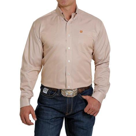 Cinch Tan Stripe Tencel Long Sleeve Buttondown Men's Shirt