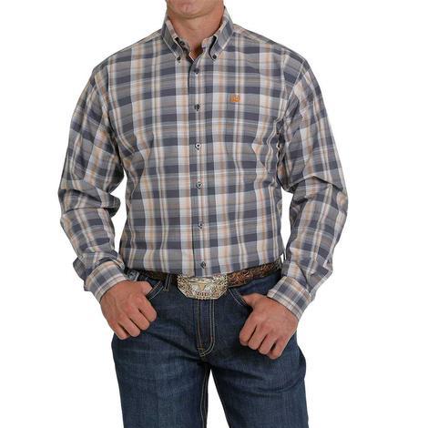 Cinch Charcoal Brown Plaid Long Sleeve Buttondown Men's Shirt