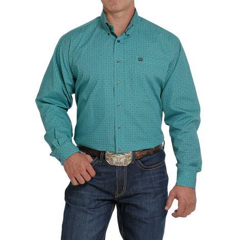 Cinch Turquoise Tan Print Long Sleeve Buttondown Men's Shirt