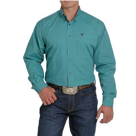 Cinch Turquoise  Tan Print Long Sleeve Buttondown Men's Shirt - Extended Sizes