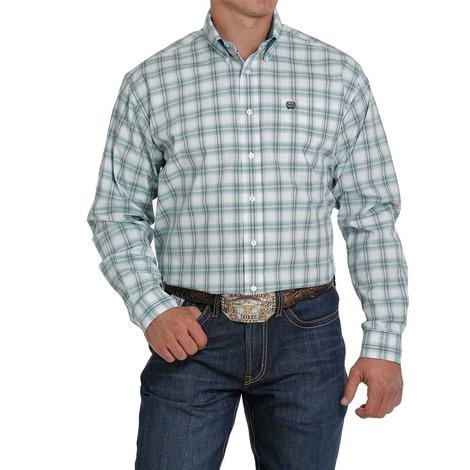 Cinch White Turquoise Plaid Long Sleeve Buttondown Men's Shirt