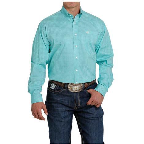 Cinch Turquoise Stretch Long Sleeve Buttondown Men's Shirt