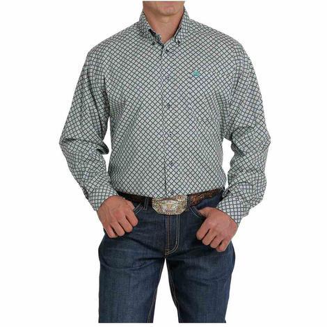 Cinch Charcoal Turquoise Print Long Sleeve Buttondown Men's Shirt