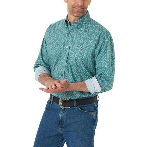 Wrangler Neutral Olive Paisley Long Sleeve Men's Shirt