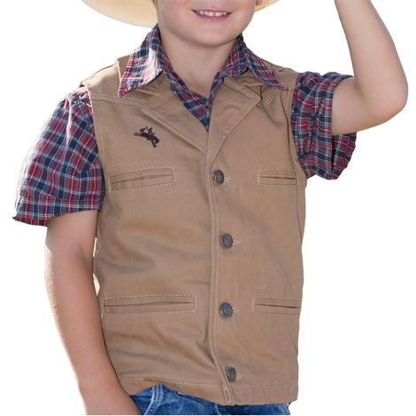 Wyoming Traders Tan Bronco Canvas Youth Vest