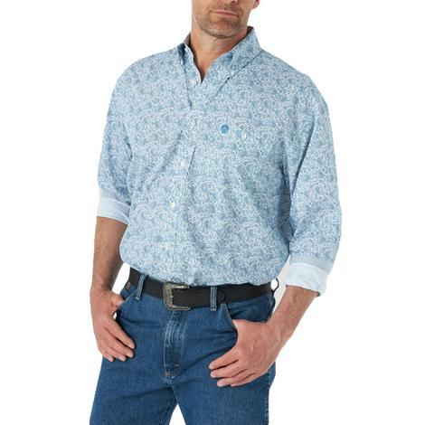 Wrangler Blue Paisley Long Sleeve Men's Shirt