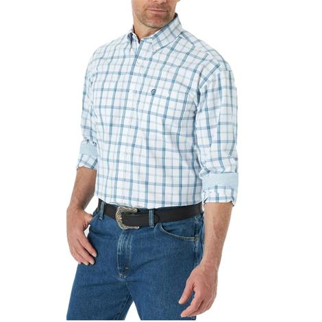 Wrangler Blue White Plaid Long Sleeve Men's Snap Shirt