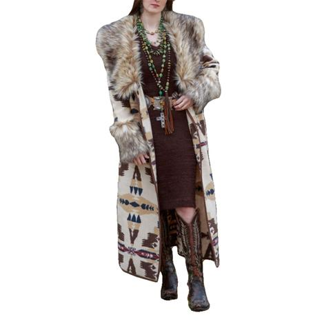 Tasha Polizzi Frontier Tan Blanket Women's Coat with Removable Fur